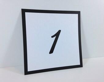 Black Table Number Cards (set of 5) - Flat