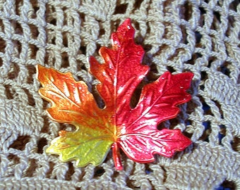Hand Painted Vermont Maple Leaf Pin.Small.