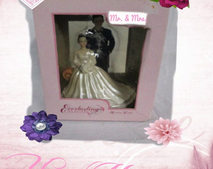 Wedding Cake Topper, Bride and Groom Cake Topper in the original box,  In like New Condition,  With Reduced Shipping