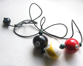 Ruby Z 8 Ball Billiard Necklace by Candace Loheed Ceramic 1980s Beaded Necklace Hand Painted Porcelain Beads