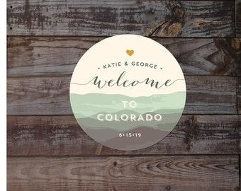 Colorado stickers, mountain sticker, Colorado wedding sticker, welcome bag sticker, welcome sticker, gift bag label, favor sticker