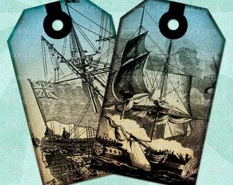 Printable Tags SHIPS AT SEA Digital Collage Sheet Nautical - no. 0067