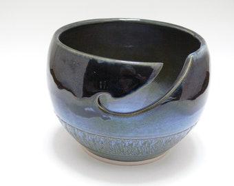 Blue Yarn Bowl - Ceramic Yarn Bowl -Yarn Bowl - SierraAvisPottery