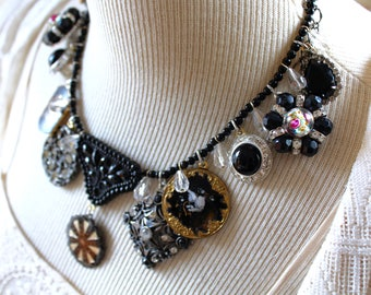 Black and Rhinestone statement Assemblage Necklace  antique vintage, stunning gorgeous recycled little black dress repurposed jewelry
