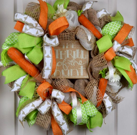Thrill of the Hunt Burlap and Mesh Wreath with Carrots; Primitive Burlap Wreath; Easter Wreath; Spring Wreath; Country Spring Easter Wreath