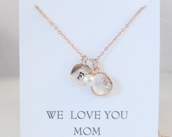 We Love You Mom Diamond Necklace,Dimond,Rose Gold,Rose Gold Necklace,Diamond,Initial Necklace,Diamond Necklace,Monogram Personalized Pearl