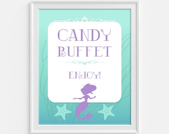 Candy Buffet Party Sign, Aqua & Purple Birthday Party Sign, Mermaid Party Sign, 8x10 inch, INSTANT PRINTABLE