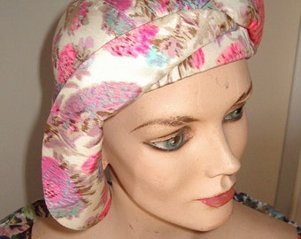 """20s Style Floral Silk Cloche with Draped /Twisted Brim """" Vogue"""" Cover Style Item #771 Hats"""