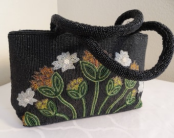 BEAUTIFUL Vintage Beaded Black With Flower Detail Handbag - Unique!!
