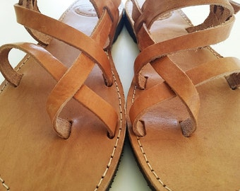 Men Sandals-Ancient Greek Sandals in Brown Natural Leather Color-Men leather Sandals - Men Flats