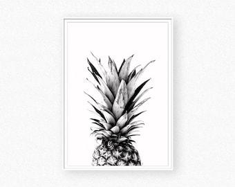 Pineapple print, pineapple photography, ananas, tropical print,  black and white pineapple print, pineapple wall art, ananas print