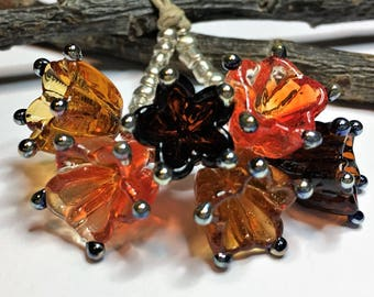 Lampwork Glass Charms, Flower Charms,Bellflower Charms,Transparent Amber Glass,Orange Glass,Dark Amber Glass,Silver Glass - Made to Order