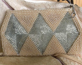 "Vintage '50's  ""BEADED CLUTCH PURSE"" by Sharonee in a Diamond Trio Design   Bridal Attire -  Beautiful"