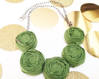 Avacado Rosette Necklace