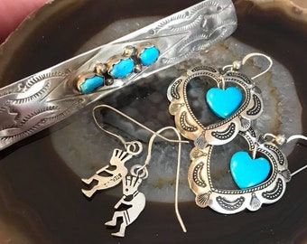 Vintage Sterling Silver 3 PC Native American Turquoise Lot