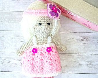 Handmade Doll Gift - Girl Doll Gift - Plush Doll Toy - Knitted Stuffed Doll - Knit Doll Toy - Kids Doll Toy - Girl Gift Toy -вязаная кукла