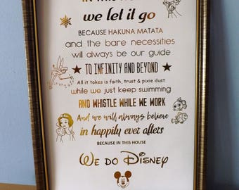 In This House We Do Disney Print - Disney Wall Art - Disney Characters Foil Print - Copper Silver Gold Wall Art Print