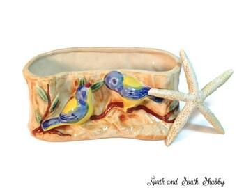Vintage Lusterware Bird Motif Planter, Shabby Retro Kitchen Decor