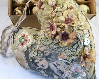 Beautiful hand made vintage inspired soft heart.