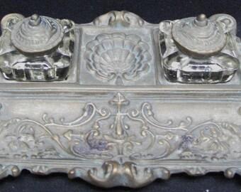Vintage Silvestri Bronze Ornate Inkwell