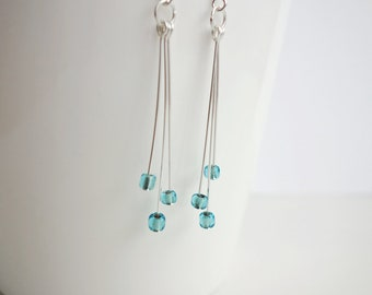 Layered dangle earrings turquoise beads earrings stylish long earrings for women