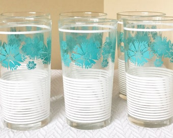 Vintage Drinking Glasses / Tumblers Swanky Swigs Aqua Turquoise and White - Set of 6