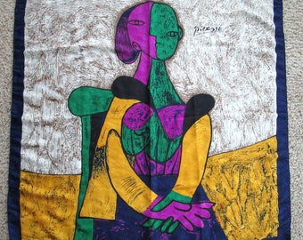 Vintage Picasso Painting Scarf Magenta Green Gold Navy Blue Scarf Tone on Tone