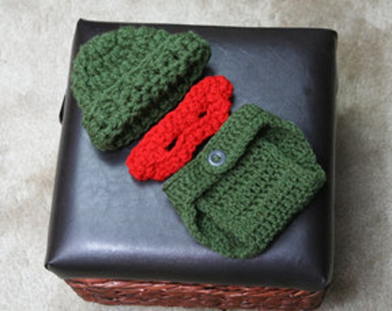 Photography Prop, Newborn Baby Crochet Ninja Turtle Hat, Mask & Diaper Cover