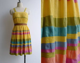 Vintage 80's 'Rainbow Brite' Sunshine Yellow Cotton Day Dress XS or S