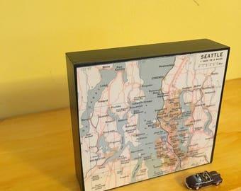 "BrooklynMap Art Block - Home Office Decor - Housewarming Gift- New House or  Wedding  Present - Vintage New York Atlas 4"" x 4"""