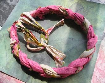 ARABELLA Braided Fabric Chunky Necklace Pink Boho