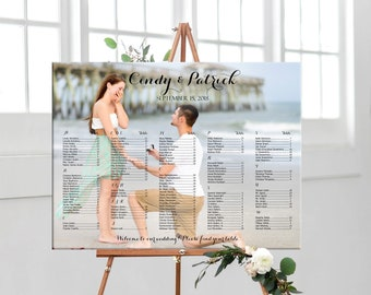 Wedding photo seating chart alphabetical, personalized alphabetical wedding seating plan, custom printable table assignment digital sign