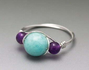 Peruvian Blue Amazonite & Amethyst Gemstone Sterling Silver Wire Wrapped Bead Ring - Made to Order, Ships Fast!