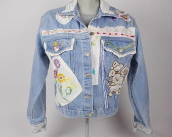 vintage patchwork denim jacket embroidered jean jacket with patches hippie boho western - 90s
