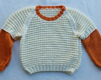 Girls Sweater/Sloppy Jumper/Pullover/Girls Knit/Jumper with under sleeve /Cream & Orange/Kids Sloppy Joe/Childs/Boys/3 years/4 years/5 years