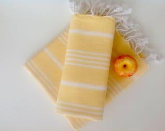 Set of  2 Turkish Ecofriendly Hand Towel (Peshkir), Organic, Tea Towel, Kitchen,  Soft Head, Towel, yellow