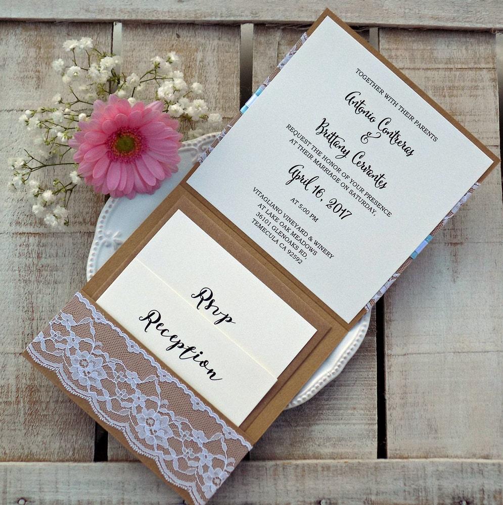 Rustic Light Blue Wedding Invitation Suite, Rustic Wedding, Printed ...
