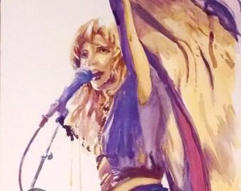 Stevie Nicks print stevie nicks art Fleetwood Mac print Fleetwood Mac watercolor art classic rock art music lover print gift for music lover