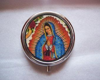 Virgin of Guadalupe pill box retro vintage Mexico saint religious kitsch pill case