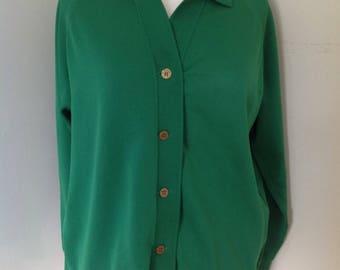 Ladies Grass Green 1970's cardigan / jacket UK 18-20 (XL) Plus Size Vintage