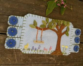 Tree Swing Fiber Art, Nature Mug rug, coffee coaster, tree drink coaster, wild flowers art
