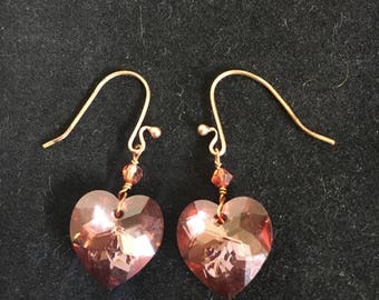 Swarovski crystal heart earrings. Copper earwires.