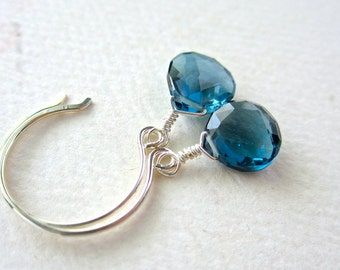 Ocean's Depth Earrings - london blue topaz earrings, december birthstone, london blue topaz jewelry, blue topaz earrings, handmade jewelry