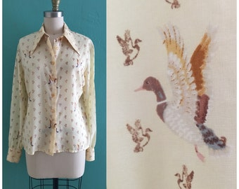 vintage 80's bird print blouse // yellow button down top