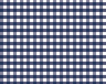 Navy Blue Gingham Fabric by Riley Blake. Medium (1/4 inch). Perfect for baby, nursery & quilts.  100% cotton c450-21