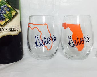1 glass Florida gators wine glass, college football wine glass,Florida gator stemless wine glass listing is for one glass