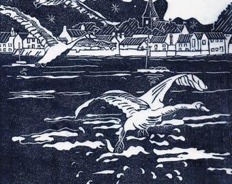 "BOSHAM HARBOUR ""Night Landing"" Original Linocut Handprinted"