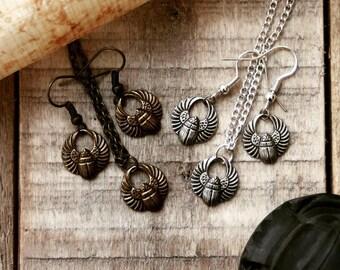 Egyptian scarab earrings, winged scarab earrings, sacred scarab jewelry, egyptian mythology, khepri jewelry