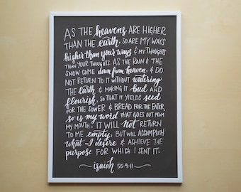 """Isaiah 55:9-11 - As The Heavens Are Higher Than The Earth - 8.5x11"""" Chalkboard-Style Hand Lettered Art Print, Scripture Art"""