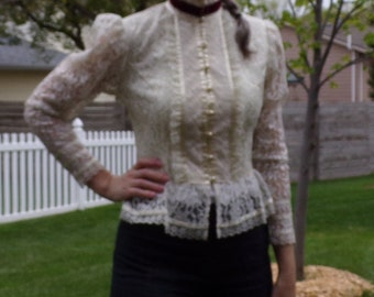 ivory LACE GUNNE SAX gunnies neo victorian blouse xs